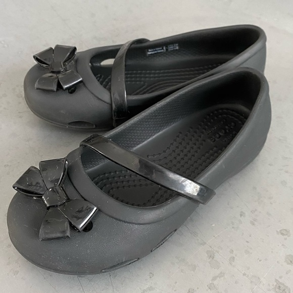 CROCS Other - Girls size 11, black Mary Jane Crocs with bow.